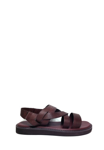 SEMBONIA red SEMBONIA Men Calf Leather Sandal (Maroon) 51A1CSHE01CE27GS_1