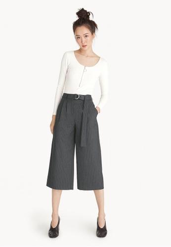 Pomelo grey Pinstripe Tie Waist Culottes 58EEEAA528DF0BGS_1