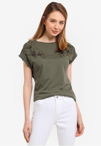 Dorothy Perkins green Khaki Floral Applique Tee 9F63BAA0F57754GS_1