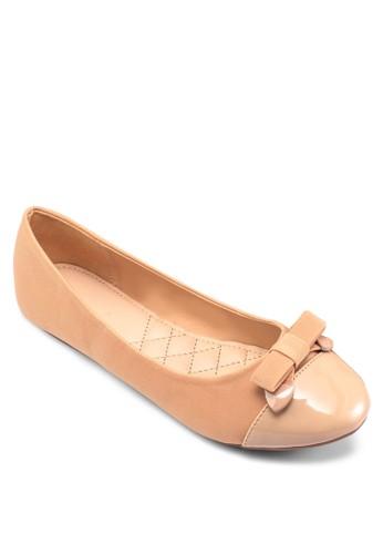漆皮拼接蝴蝶結娃娃鞋, esprit outlet 香港女鞋, 鞋