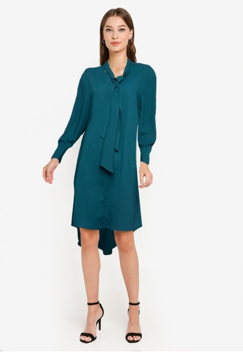 ZALORA WORK green Tie Neck A Line Mini Dress B95F7AAC6A0E0AGS_1