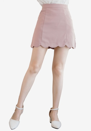 Eyescream pink Scallop Hem Aline Skirt D5245AACC75A52GS_1