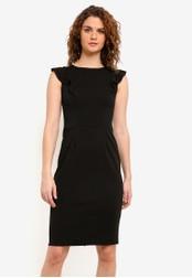 Dorothy Perkins black Ruffle Shoulder Pencil Dress DO816AA0RMYNMY_1