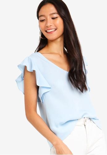 ZALORA blue Ruffles Sleeves V-Neck Top 9C330AA6041FCEGS_1