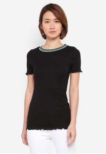 Dorothy Perkins black Black Lettuce Edge T-Shirt BF978AA41F7687GS_1