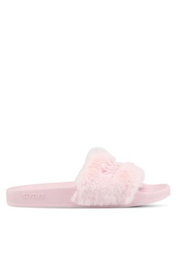 Slydes 粉紅色 時尚絨毛拖鞋 71146SH078DA9CGS_1