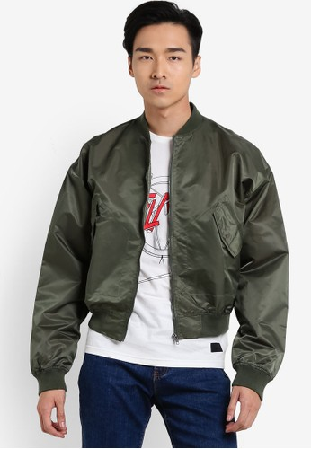 Flesh IMP green All Zipp Bomber Jacket FL064AA06VWFMY_1