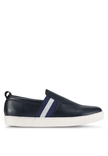 Acuto blue and navy Stripe Slip-On Sneakers AC283SH0SL6CMY_1
