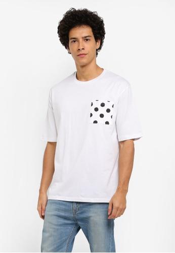 ZALORA white Polka Dot Pocket Boxy Tee A72B7AAD2913F9GS_1