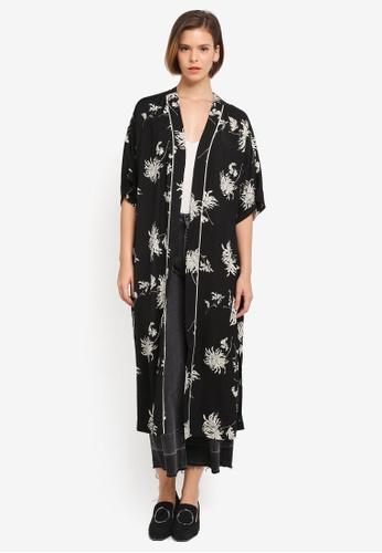 ZALORA black and multi Orient Floral Kimono Cardigan B11D8AA8057C68GS_1