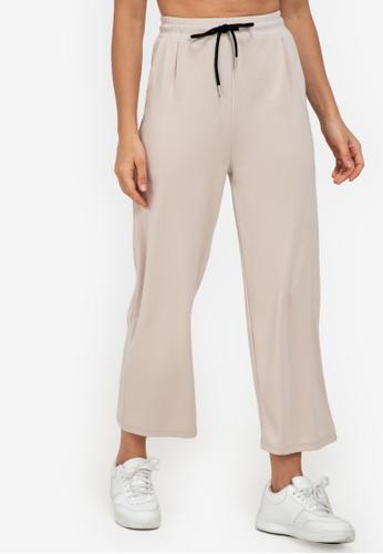 ZALORA ACTIVE beige Relaxed Wide Leg Pants AA5C6AAFA46C3DGS_1