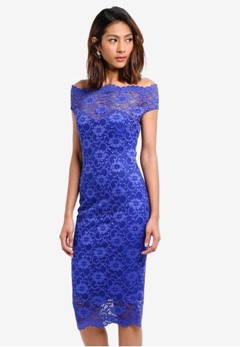 Goddiva blue Bardot Lace Midi Dress 6154EAA87EC68FGS_1