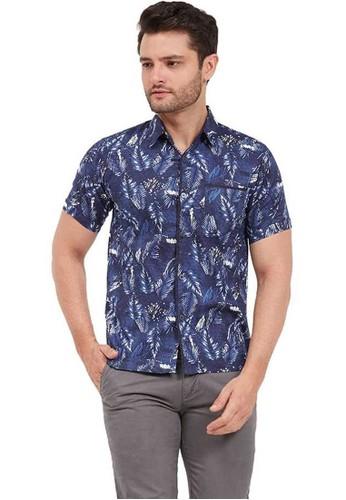Hamlin navy Hamlin Dwan Shirt Kemeja Atasan Pria Lengan Pendek Motif Floral ORIGINAL EF4F5AAB473E71GS_1