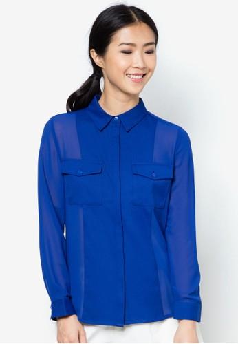 口袋網紗長袖衫、 服飾、 襯衫ZALORA口袋網紗長袖衫最新折價