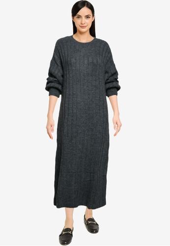 Mango grey Ribbed Midi Dress 193F0AAFBC89AFGS_1