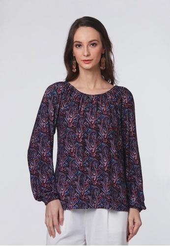 East India Company Faiza- Puff Sleeve Printed Knit Top 2D781AA6877B98GS_1
