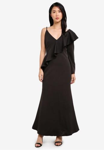 Preen & Proper black Asymetrical Maxi Mermaid Dress PR614AA0S9V3MY_1