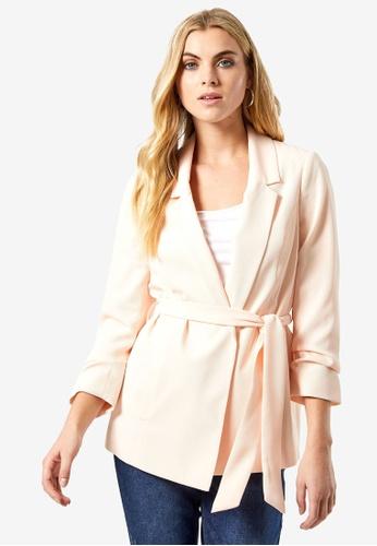 Dorothy Perkins pink Blush Tie Waist Blazer Jacket 58FA5AAFD52068GS_1