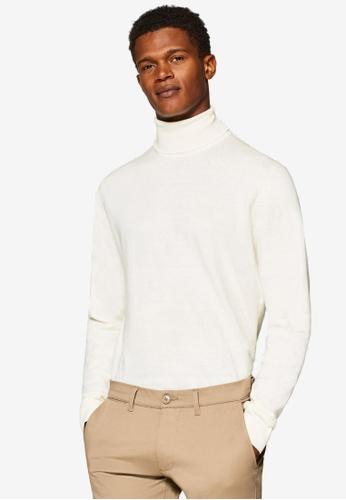 ESPRIT 白色 高領羊毛衫 EA479AA4E52A1AGS_1
