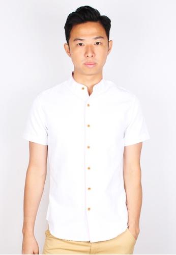 Moley white Piped Mandarin Collar Short Sleeve Shirt CC70DAA08F31ACGS_1