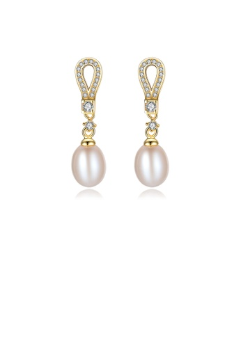Glamorousky white 925 Sterling Silver Plated Gold Simple Fashion Geometric White Freshwater Pearl Earrings with Cubic Zirconia E3725AC48AEB4BGS_1
