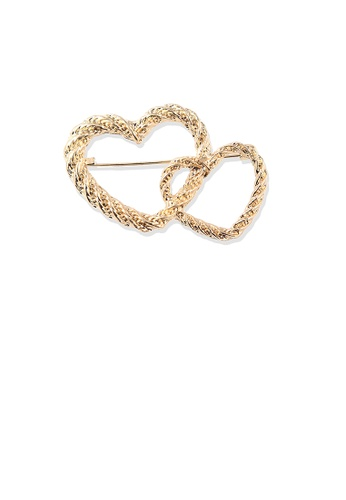 Glamorousky silver Fashion Simple Plated Gold Hollow Double Heart Brooch 1C451AC141AB80GS_1