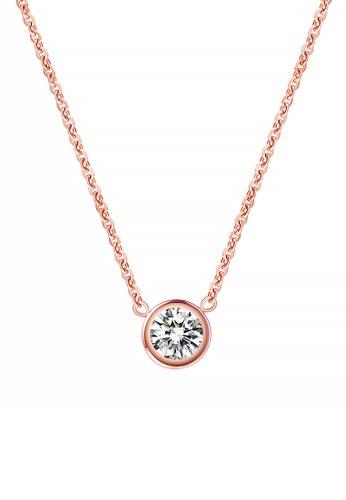 CELOVIS gold CELOVIS - Lux Zirconia with Round Bezel Solitaire Pendant Necklace (Rose Gold) C0FE3ACCA56EDCGS_1