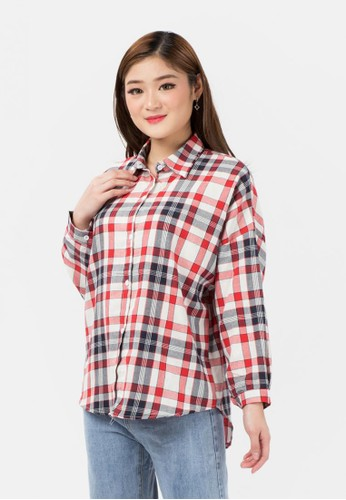 MKY Clothing red Plaid Cotton Long Sleeve Shirt 91475AA795D26AGS_1