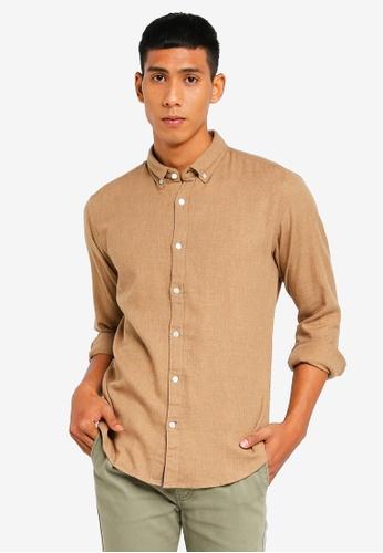 ESPRIT 米褐色 長袖襯衫 3F3D7AA5C008CDGS_1