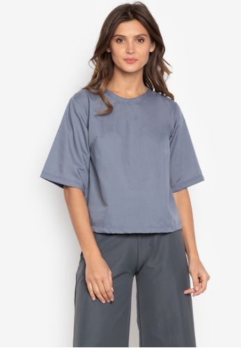 Courier grey Round Neck Wide Sleeve Blouse 19371AAEC40D05GS_1