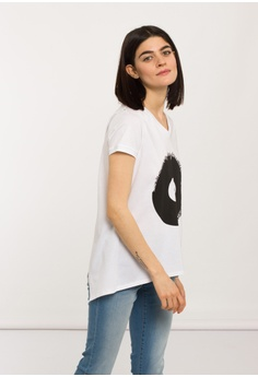 2576cfc5a4a660 SH by SILVIAN HEACH white Eyeball Printed Back Open T-shirt  E591EAA8BE53A3GS 1