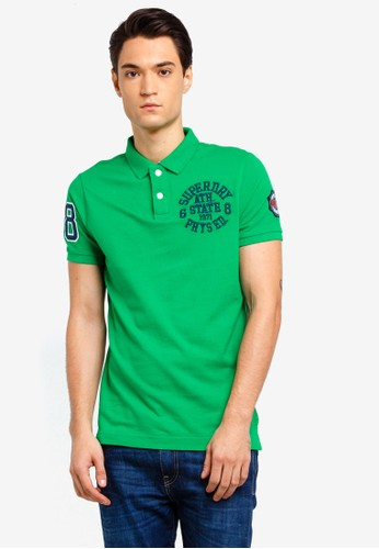 Superdry green Classic Short Sleeve Superstate Polo 695AFAAA09E2EFGS_1