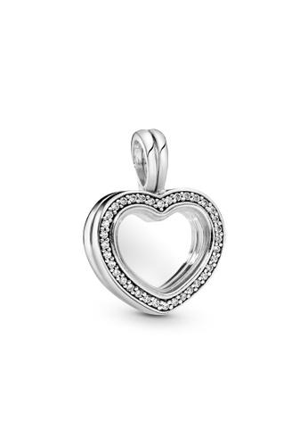 PANDORA silver Pandora Lockets Sparkling Heart Dangle Charm 56D6BACD1067E6GS_1
