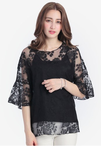 Yoco black Lace Floral Mesh Top With Inner Cami 41FBFAAD861F2AGS_1