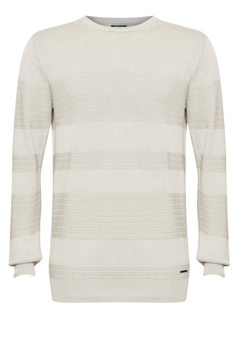 Kenneth Cole blue Sweater Round Neck With Jacquard Stripes & Stone Washed C0D89AAD72F2E7GS_1