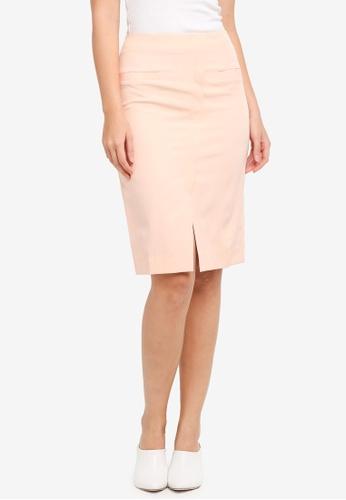 ZALORA pink Centre Split Hem Skirt 5C4D5AAF60FC3FGS_1