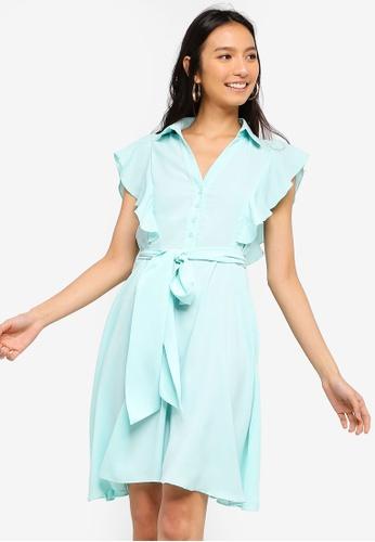 ZALORA 綠色 Buttoned Down 荷葉飾洋裝 57789AA3FED6FFGS_1