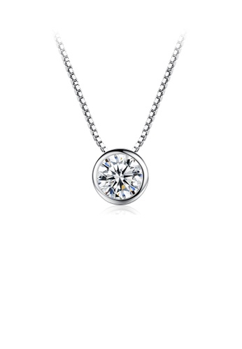 Glamorousky white 925 Sterling Silver Fashion Simple Geometric Round Cubic Zirconia Pendant with Necklace 11C61ACD02B8B6GS_1