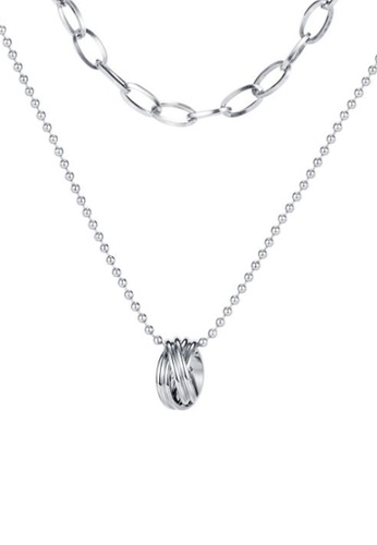 CELOVIS silver CELOVIS - River Twisted Ring and Adjustable Chain Double-layer Necklace in Silver 23698AC2D7BC03GS_1