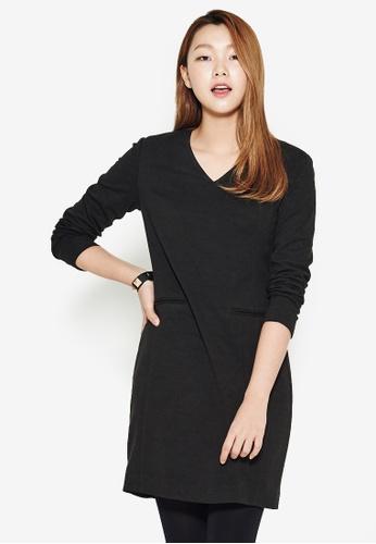 NAIN black V Neck Shift Dress NA323AA0S6ALMY_1
