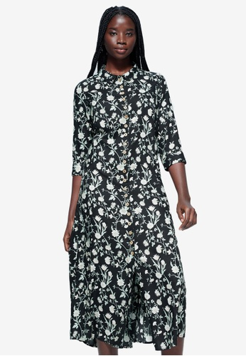 Violeta by MANGO black Plus Size Printed Shirt Dress 575A8AA93E762CGS_1