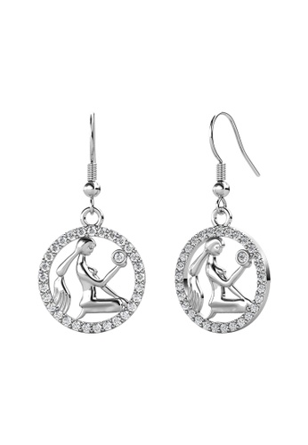 Her Jewellery white Her Jewellery Circlet Hook Virgo Earrings (White Gold) embellished with Crystals from Swarovski C2F9FAC95303ECGS_1