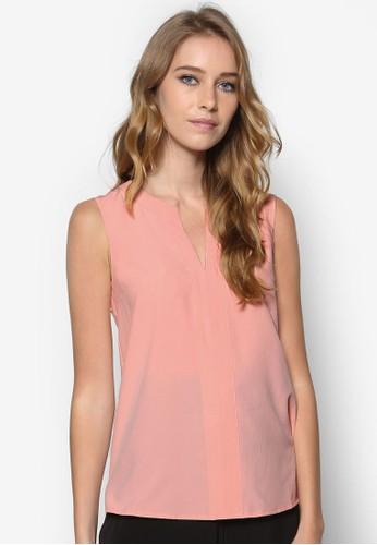 V領無袖上衣, zalora時尚購物網的koumi koumi服飾, 上衣