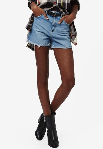 TOPSHOP blue Moto High Waisted Rip Denim Mom Shorts TO412AA0RFT7MY_1