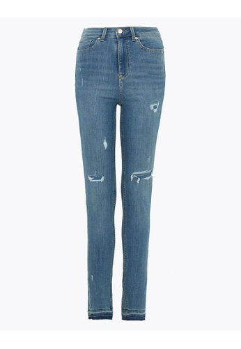 MARKS & SPENCER blue M&S Ivy High Waisted Distressed Skinny Jeans 7CA9DAA5B751C8GS_1