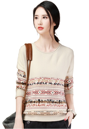 A-IN GIRLS beige Ethnic Style Round Neck Sweater B7C10AA73906A3GS_1