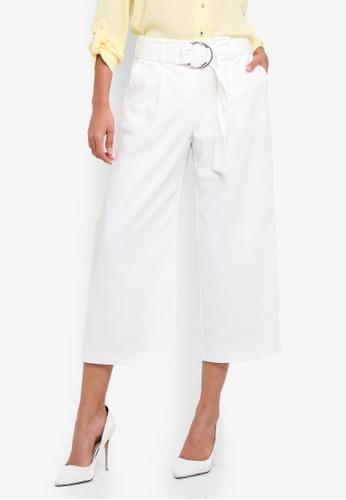 Dorothy Perkins white O-Ring Wide Crop Pants 7E38EAA0CD86FEGS_1