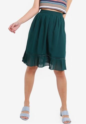 ZALORA 綠色 褶飾下擺裙 1A1A6AAFD03547GS_1