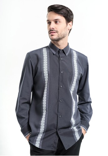 MANLY grey MANLY Wrigley Grey Regular Fit Striped Shirt 06CA7AACDD5324GS_1