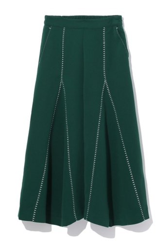 tout à coup green Contrast stitch palazzo pants 2F2F3AAC3A4B7FGS_1
